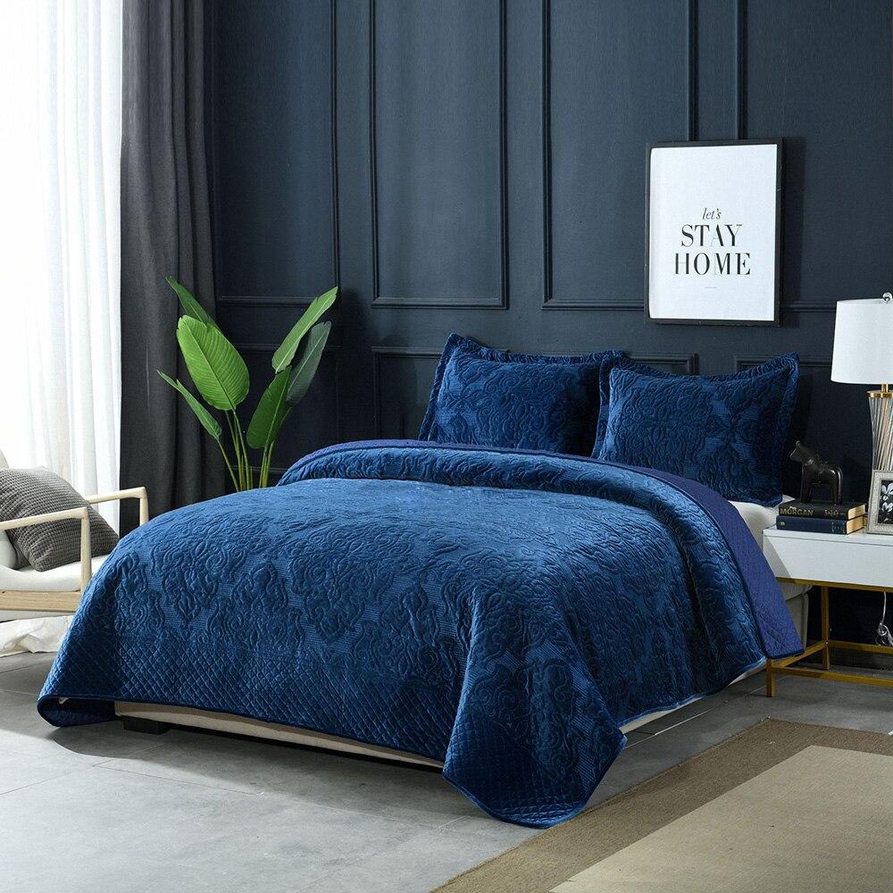 De luxe Américain couvre-lit matelassé Ensemble 3 pièces Épais Hiver Velours Couvertures plaids en coton Broderie Lit Couvre King Size Couverture