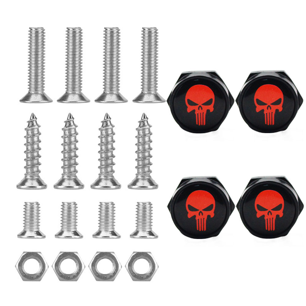 DSYCAR 1Set Rust Resistant Metal License Plate Frame Universal Bolt Screws Fasteners with Chrome Screw Caps