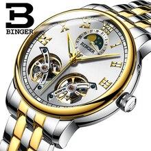 2017 NEW arrival men's watch luxury brand BINGER sapphire Water Resistant toubillon full steel Mechanical Wristwatches B-8607M-4