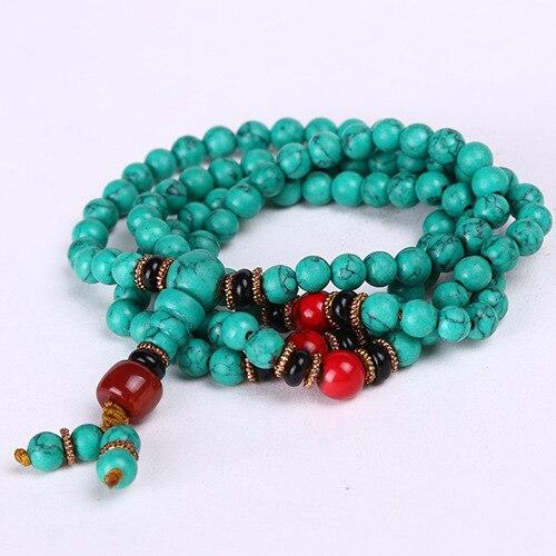 Buddhlism 108 prayer beads Turquoise Beads 6mm/8mm Size Tibetan Style Japa Mala Bracelet Free shipping