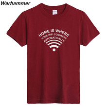 GEEK Mens T shirts Home Is Where Your WIFI Connects Automatically Geek Programmer T-Shirt Short Sleeve Cotton ONeck S-3XLTop Tee