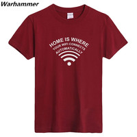 Geek mens t camicette casa è dove il wifi si collega automaticamente geek programmatore t-shirt manica corta in cotone oneck s-3xltop tee