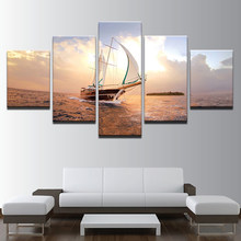 Wall For Living Room Nordic Decoration 5 Panel The Sailboat Seaview New Art Canvas Painting Cuadros Modular Picture Poster(China)