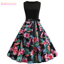 Bebovizi Women New 2019 Summer Casual Elegant Bandage Dress Flower Prin Black Patchwork Vintage Sexy Plus Size party Dresses