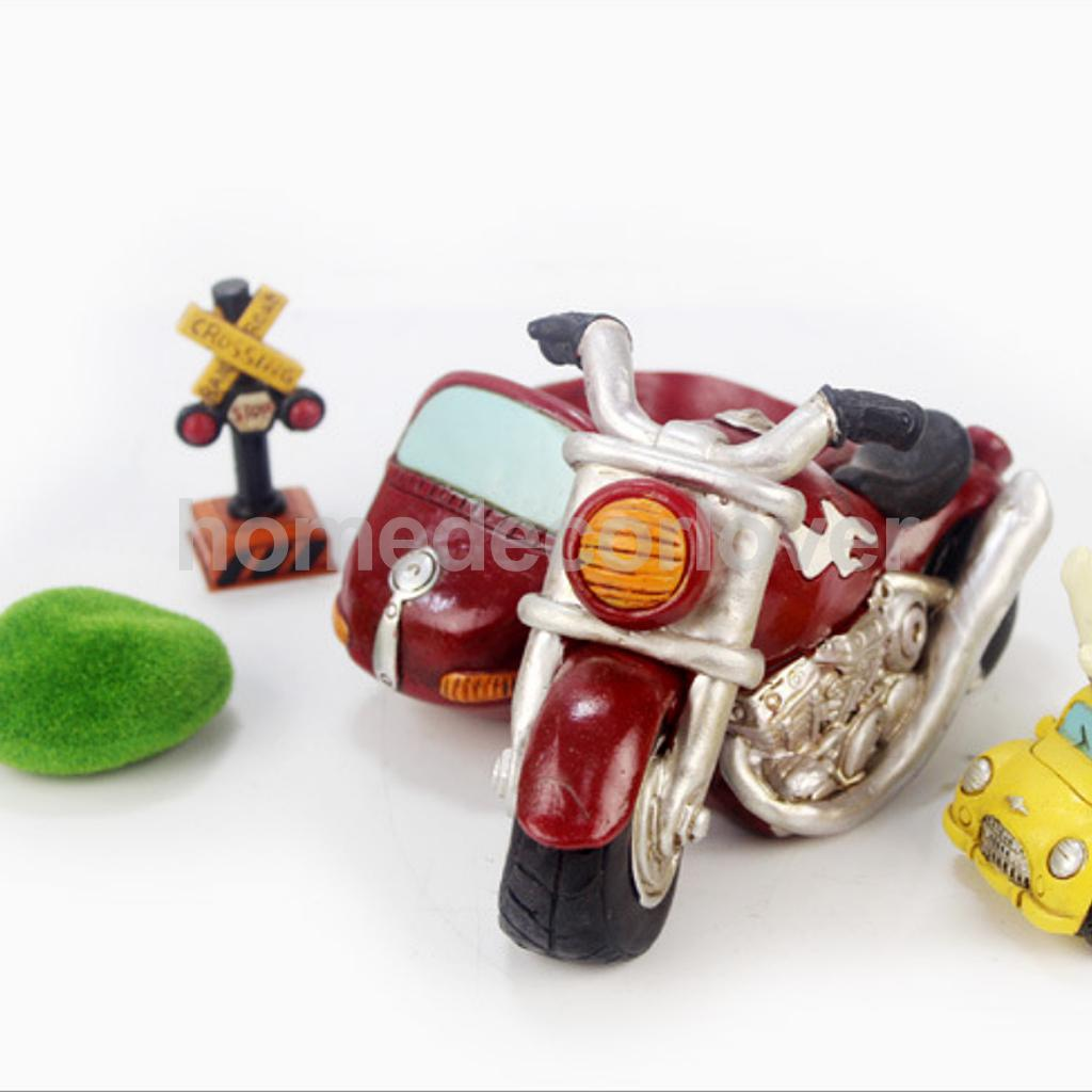 Retro MOTORCYCLE Resin Cacti Succulent Plant Flower Bed Home Garden Planter