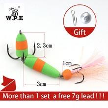 W.P.E Fishing Lure 5pcs/lot Size M Multicolor Jig Swim bait Wobblers Soft Bass Bait with a free 7g Lead