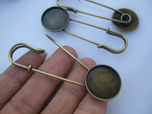 10pcs Bronze Tone Large Durable Strong Metal Kilt Scarf Brooch Safety Pin W Cameo Setting 20mm
