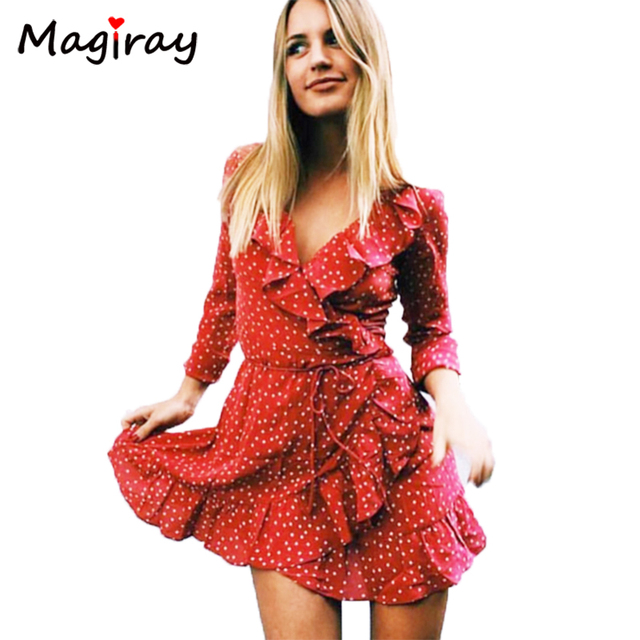 Magiray Sexy V Ruffle Star Print Summer Dress Vintage Irregular Wrap Short Dress Women Chic Chiffon Bow Beach Party Dresses C451