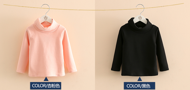 2018 Spring Autumn 2-10T Years Children'S Candy Color Sweet Long Sleeve High Neck Unisex Kids Girl Boy Basic Turtleneck T-Shirt (7)