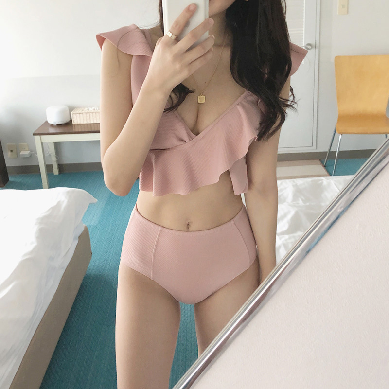 Swimsuit Woman Two Piece Swimsuits Pieces 2 Women Brazilian Biquini New 2019 Falbala Neck High Waist Female Solid Polyester