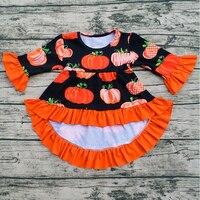 Dziewczyny Halloween Jesienią i Zimą strój dzieci ubierać dziewczynek Asymmertrical sukienka Pumpkin Drukowane bawełniane ubrania flare długim rękawem
