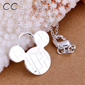 Cheap and lovely femme jewelry  sliver plated cute mickey pendant necklace for women best gifts friend wholesale CCAG340