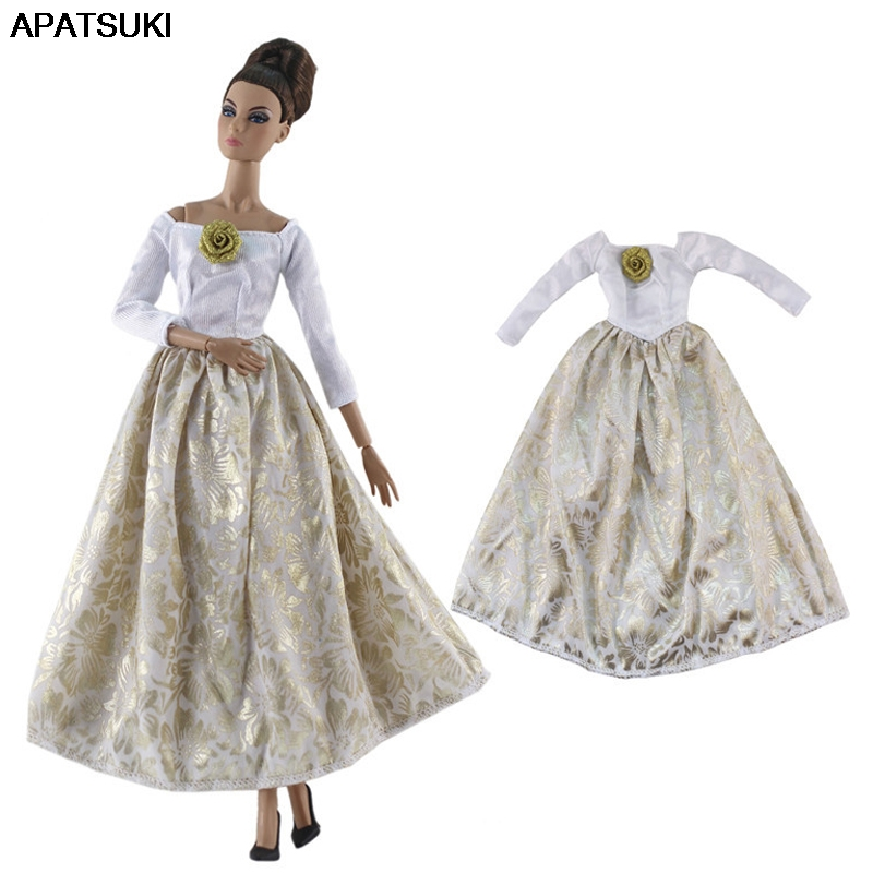 White Gold Party Dress For Barbie Doll Outfits Princess Gown For Barbie Doll  1/6 Doll Clothes 1:6 Doll Accessories Kids Toy