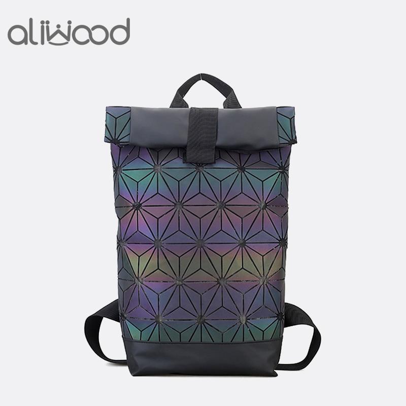 Aliwood Women Backpack Luminous Geometric Backpack For Teenage Girls Plaid Sequin Holographic Diamond Backpack Mochila Feminina
