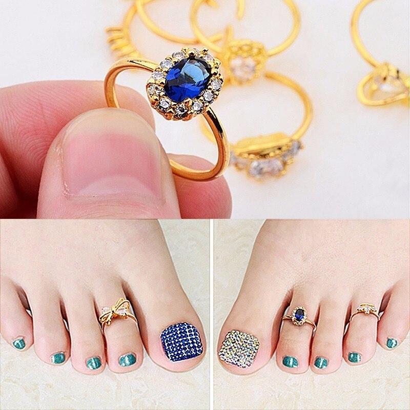 Health Beauty Nail Toe Art: The New Diamond Ring Foot Toe Nail Art Decorations