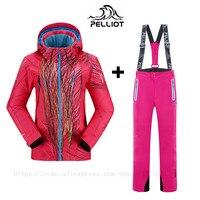 Известный бренд Pelliot женские лыжные костюмы куртки + брюки Теплые Зимние непромокаемые лыжи Сноубординг одежда лыжная куртка + брюки наборы