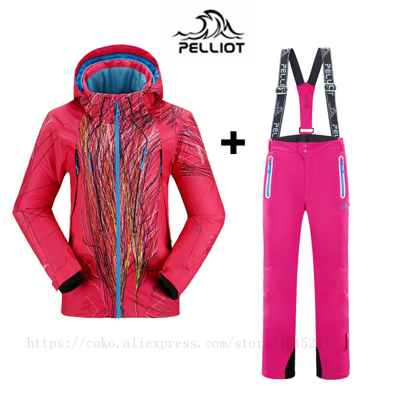 Prix pour Célèbre marque pelliot femmes ski costumes vestes + pantalon hiver au chaud imperméable ski snowboard vêtements ensemble ski veste et pantalon