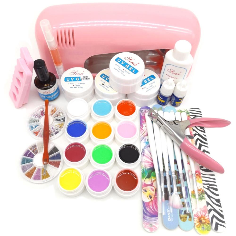 Pro 9W UV Gel Pink Lamp Dryer 12 Pure UV Gel Nail Art Manicure Tips Set Kit 5 Nail Files