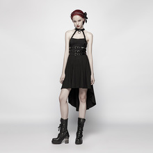 PUNK RAVE Women Punk Dress Asymmetric High-low Hem Halterneck Rock Streetwear Fashion Sexy Evening Party Dresses