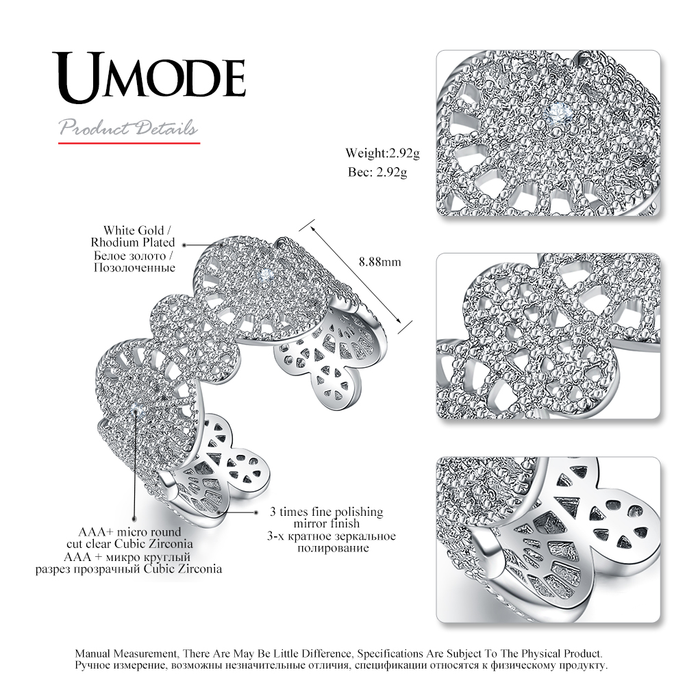 UMODE Brand New Design Resizable Weißgold Farbe Cocktail Ring - Modeschmuck - Foto 4
