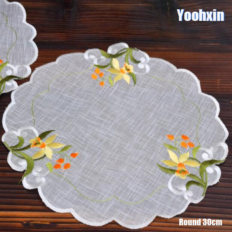 Luxury Lace Embroidery Place Table Mat Cloth Pad Cup Mug Drink Satin Doilies Dining Tea Coaster Wedding Dish Placemat Kitchen Home & Garden Kitchen,dining & Bar