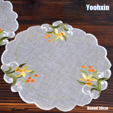 HOT round lace cotton embroidery place table mat cloth pad cup mug drink doilies dish tea coaster Christmas pot placemat kitchen