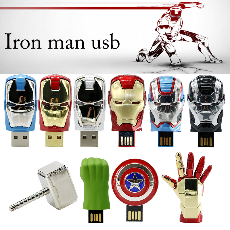 Hot USB 2.0 Flash Drive Avengers Pen Drive 8GB 16GB 32GB Metal Iron Man Hand America Shield Hammer Hulk USB Flash Memory Stick