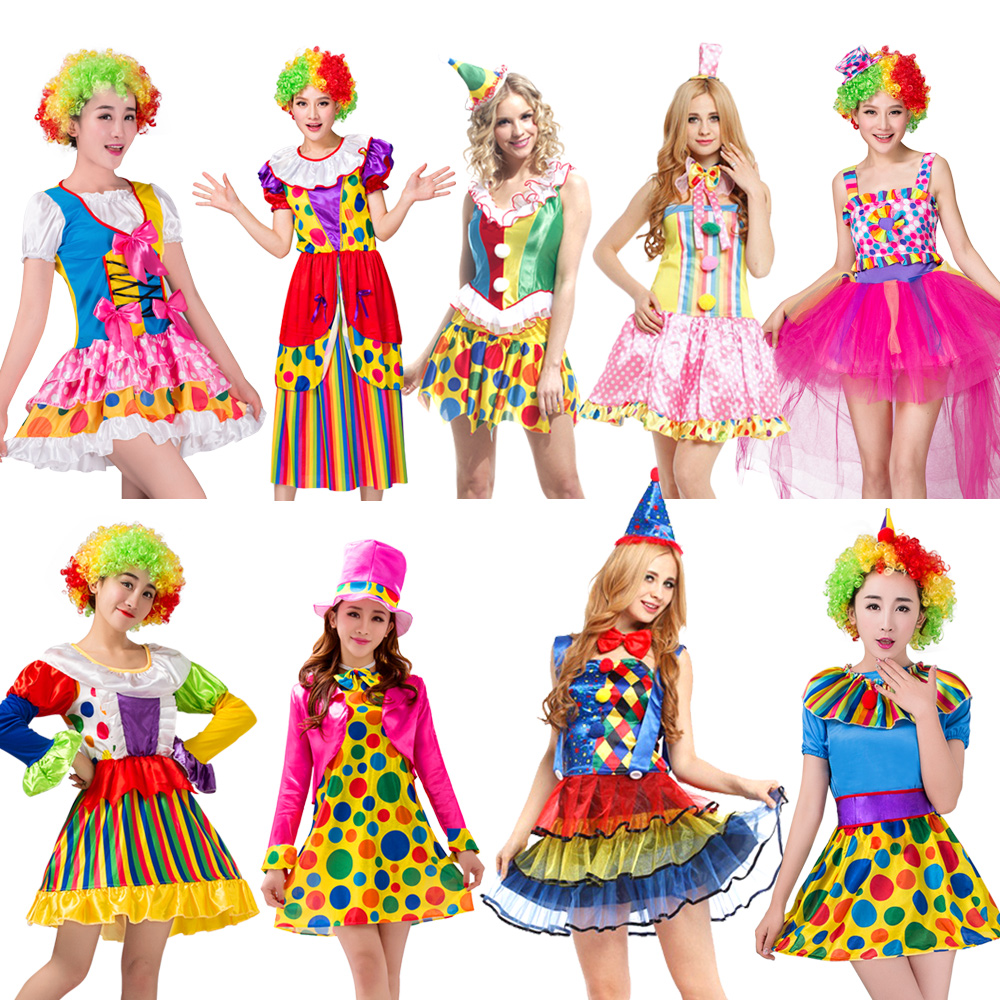 Free shipping Holiday Variety Funny Clown Costumes Christmas Adult Woman Joker Costume Cosplay Party Dress Up Clown Clothes Suit