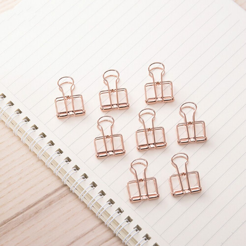 6PCS/LOt Rose Gold Hollowed Out Design Binder Clip For Office School Paper Organizer Stationery Supply Decorative Metal Clips