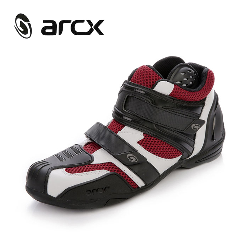 ARCX Genuine Cow Leather Motorcycle Touring Riding Boots Breathable Mesh Motorbike Chopper Biker Street Moto Racing Ankle Shoes pro biker mcs 04 motorcycle racing half finger protective gloves red black size m pair
