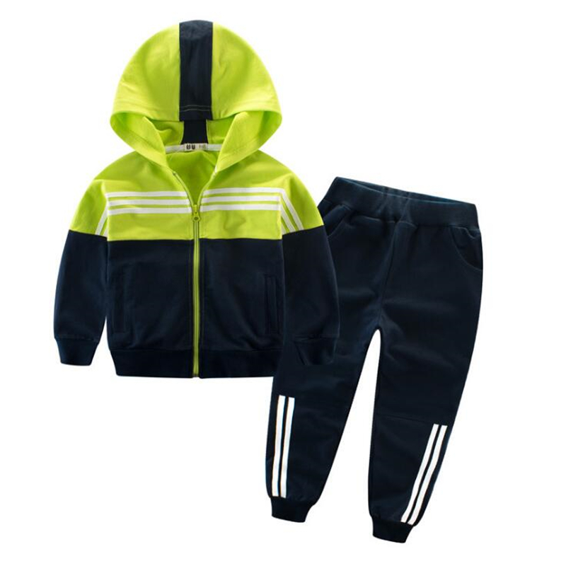 2018 Spring Kids Sport Suit Boys Girls Hooded Clothing Set Zipper Sports Clothes For 4-14T Teenage Children Tracksuit children clothing sets for teenage boys and girls camouflage sports clothing spring autumn kids clothes suit 4 6 8 10 12 14 year