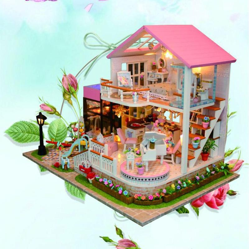 2018 New DIY Doll House Wooden Miniature Doll House Furniture Kit Box Puzzle Assemble Dollhouse Toys