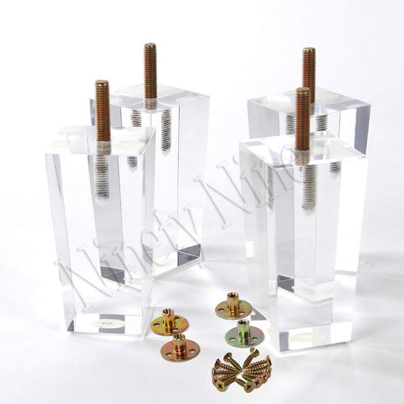 4Pcs 4\/4.7inch Furniture table legs M8 Acrylic Furniture Leg Feet 100\/120MM Coffee tea bar Stool