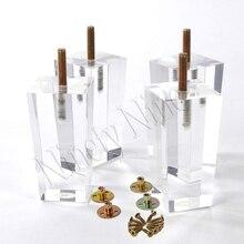 4Pcs 4/4.7inch Furniture table legs M8 Acrylic Furniture Leg Feet 100/120MM Coffee tea bar Stool chair Leg Feet