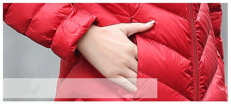 La Red Femmes Veste black Gray Blanc Taille My548 blue 90 Capuchon Long Canard Automne De red Coréenne Manteau Ultra Kmetram Plus Lumière Duvet wine Parkas Hiver À Dames Mince wpvzqH