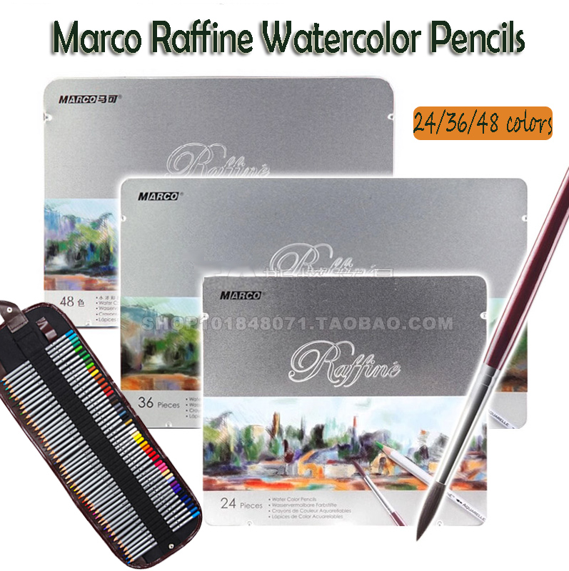 Marco Raffine Fine Art water colored pencils 24 36 48 Colors Drawing Sketches Mitsubishi Colour Pencil For Drawing Artist Grade цена