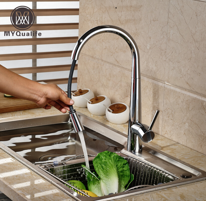 Polished Chrome Pull Out Kitchen Faucet Taps Deck Mount Single Lever Hot and Cold Water Taps