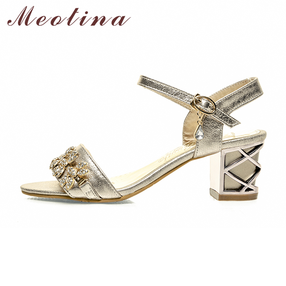 8cf7f1d67c5 Meotina Shoes Women Sandals Luxury Bridal Shoes Summer Open Toe Party  Chunky Heels Rhinestone Sandals Silver Gold Big Size 9 10 -in High Heels  from Shoes on ...