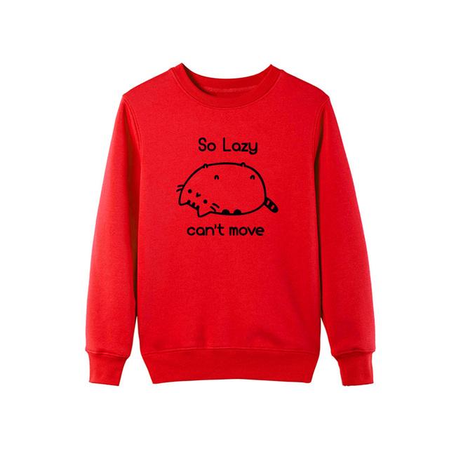 Unisex Lazy Cat Sweatshirt (12 types) – Black/White – XS