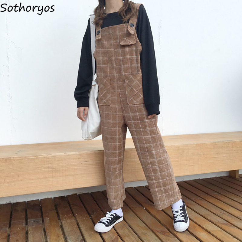 Jumpsuits Women Plaid Loose Pockets Leisure Simple All-match Retro Kawaii Students Bodysuits Womens Korean Style Soft Trendy
