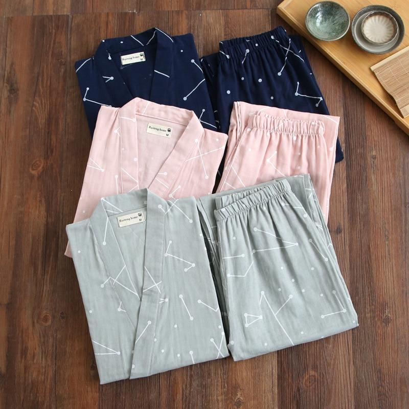 Image 2 - Summer Men's and Women's 100% Cotton Gauze Pajamas Sets Retro V neck Pijama Kimono Suit Couple Sleepwear Nightly Home Clothing-in Pajama Sets from Underwear & Sleepwears on AliExpress