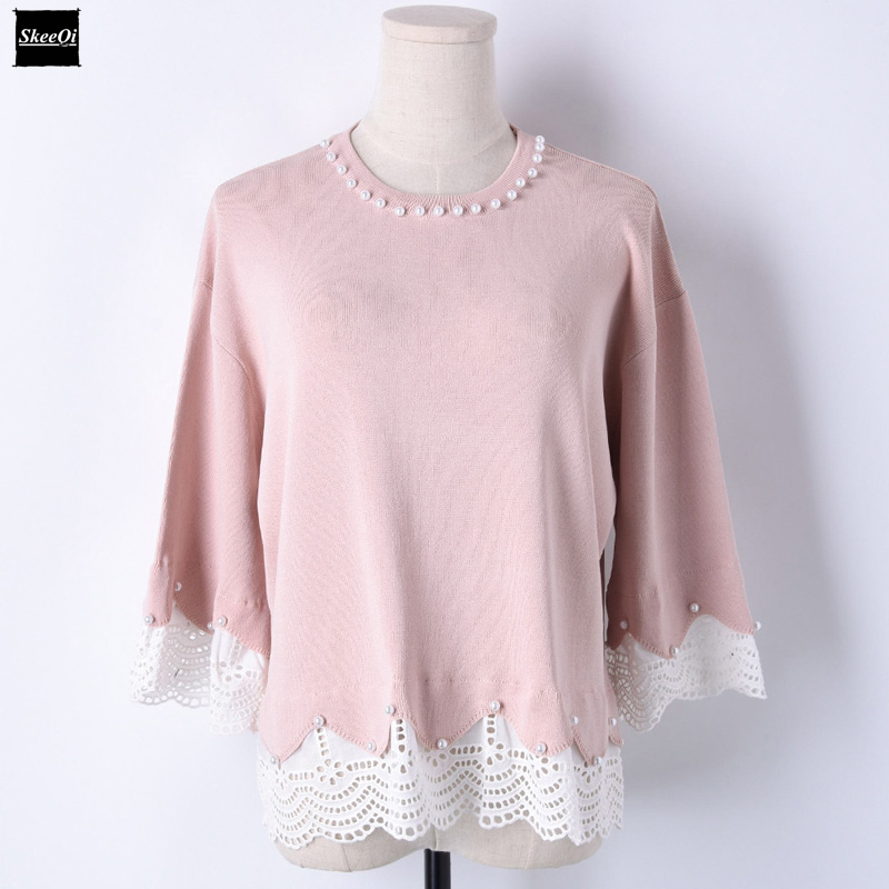 2018 Spring New Fashion Sweater Female Pullovers Beading Lace Loose Sweet Knitted Sweaters Pullover Runway Designer Tops Jumper