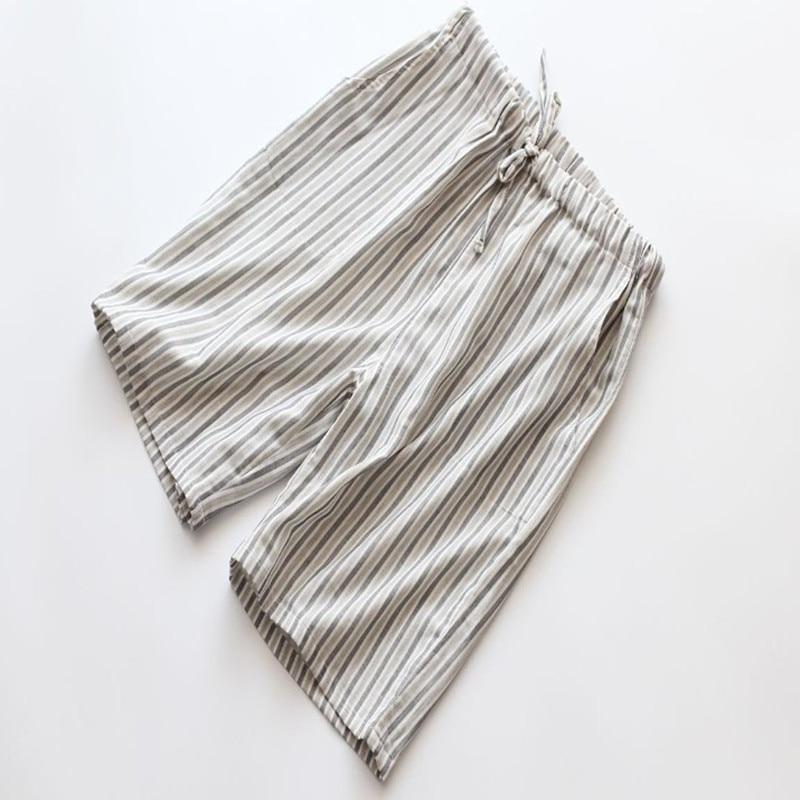 Short Pants Men Summer 100% Cotton Gauze Loose Shorts Thin Double layer Gauze Men Lounge Sleep Bottoms Short