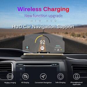 Image 2 - Chargeur sans fil pour téléphone intelligent universel voiture miroir support pare brise projecteur HUD tête haute affichage GPS Navigation HUD support