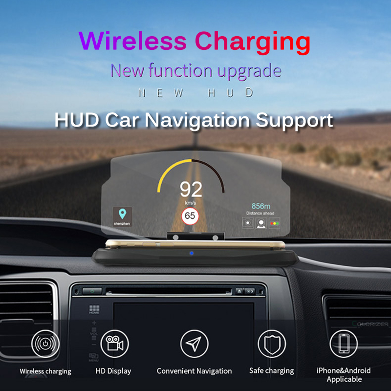 Image 2 - Wireless Charger For Smart Phone Universal Car Mirror Holder Windscreen Projector HUD Head Up Display GPS Navigation HUD Bracket-in Mobile Phone Chargers from Cellphones & Telecommunications