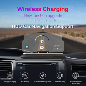 Image 2 - Wireless Charger For Smart Phone Universal Car Mirror Holder Windscreen Projector HUD Head Up Display GPS Navigation HUD Bracket