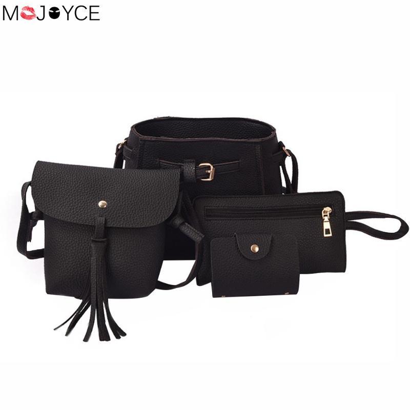 a812663a6ba0 ... Женская мода bolsa feminina · 4 шт./компл. кисточкой сумка для женщин  из искусственной кожи сумки через плечо