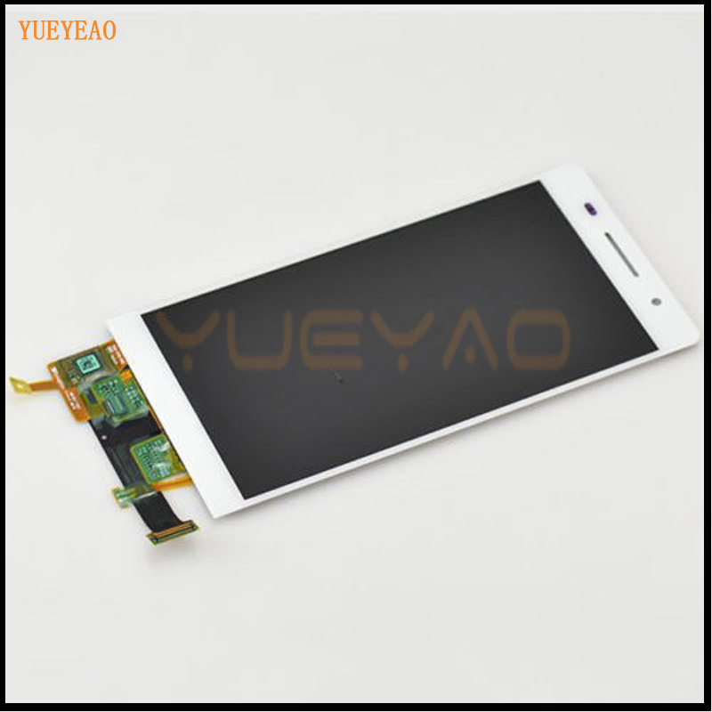 100% Original For Huawei Ascend P6 White LCD Display Panel Screen Monitor Moudle + Touch Screen Digitizer Sensor Lens Glass Asse replacement original touch screen lcd display assembly framefor huawei ascend p7 freeshipping