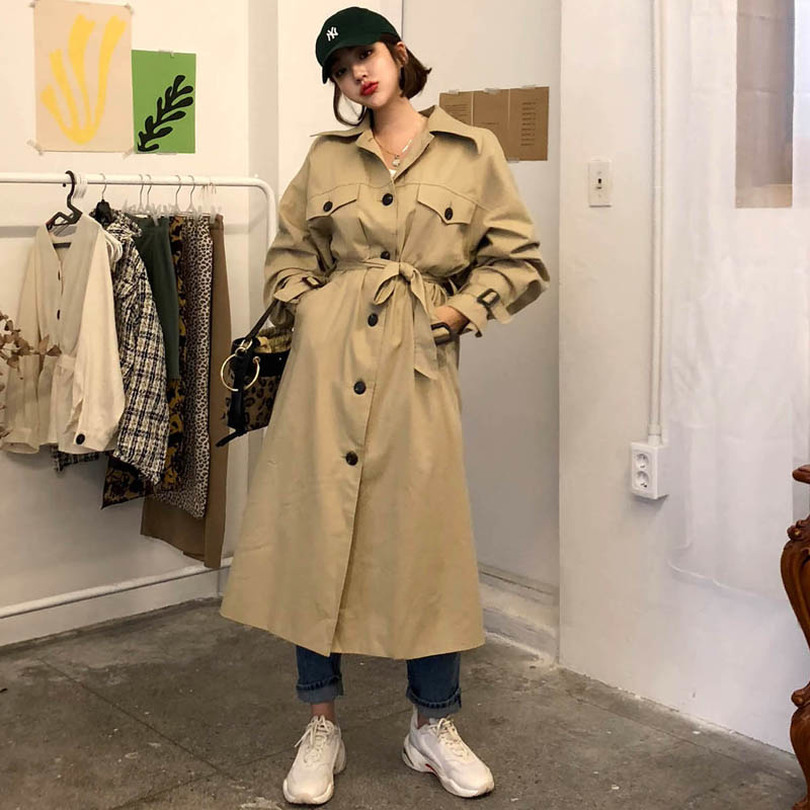 TYHRU Long Windbreaker for Women Lapel Long Sleeve Lace-up   Trench   Coat Female Oversized Outwear