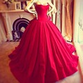 2016 Elegant Victoria Royal Style Corset Sexy Sweetheart Vestido De Renda Red Ball Gown Evening Dresses Prom Gowns